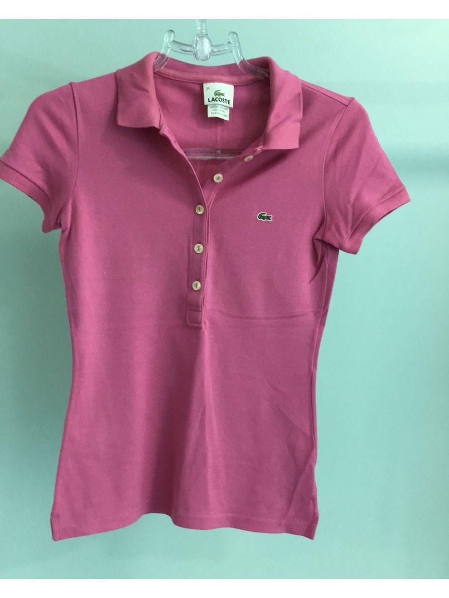Camisa Polo Feminina Rosa Lacoste   Camisa Feminina Lacoste Usado ... da7905e69f