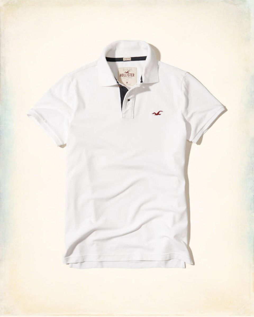 5e1c186c0c camisa pólo hollister original branca + vermelho - camisas hollister