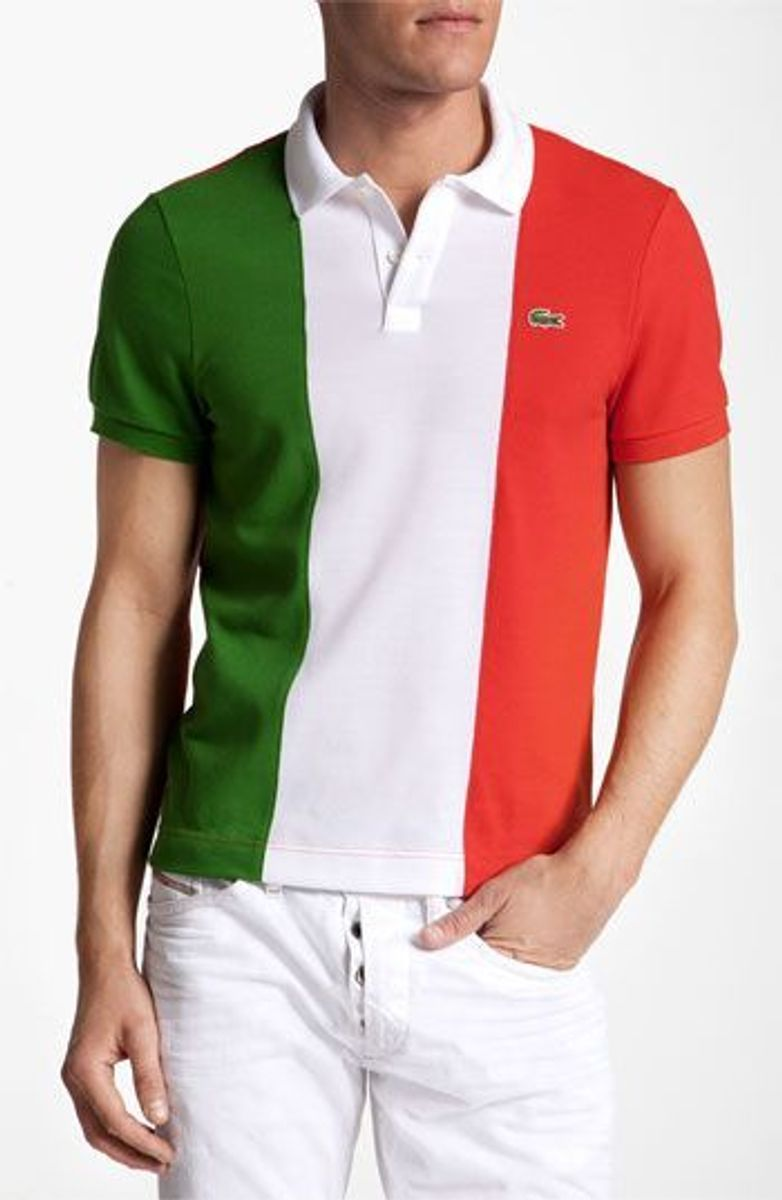 cabd97e493660 Camisa Polo Lacoste Bandeira da Itália   Camisa Masculina Lacoste ...