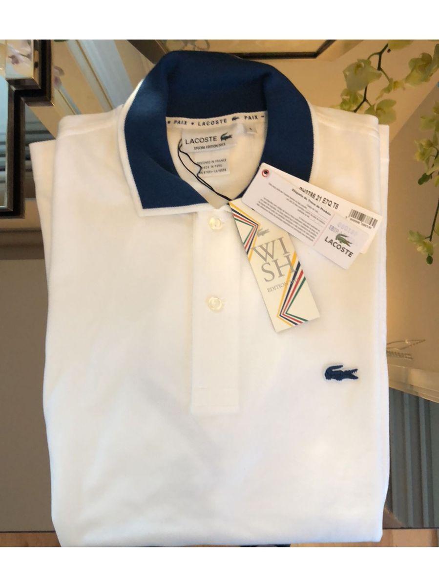 d207c90dea camisa polo lacoste branca com gola azul - camisas lacoste
