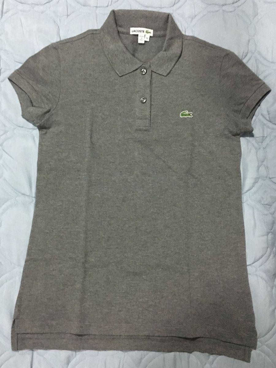 Camisa Polo Lacoste Cinza Mescla   Blusa Feminina Lacoste Usado ... 6d83980455