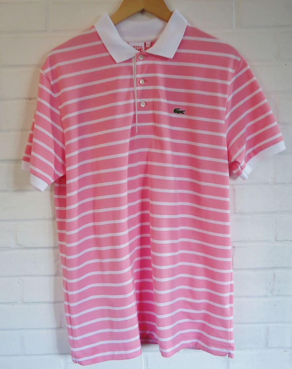 bd81cf6c29412 Camisa Polo Lacoste Live Listrada - Rosa   Camisa Masculina Lacoste ...