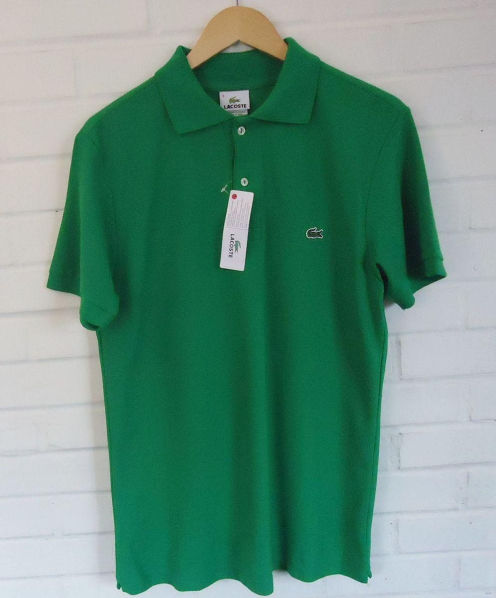 253445920a57f Camisa Polo Lacoste - Modelo Slim Verde   Camisa Masculina Lacoste ...