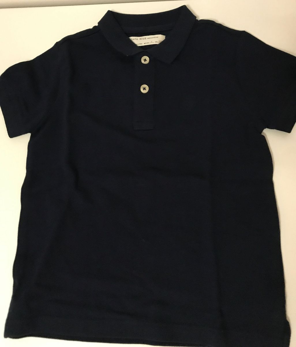camisa tradicional polo manga curta infantil zara kids menino azul escuro 5  anos - menino zara 1d741a53cf