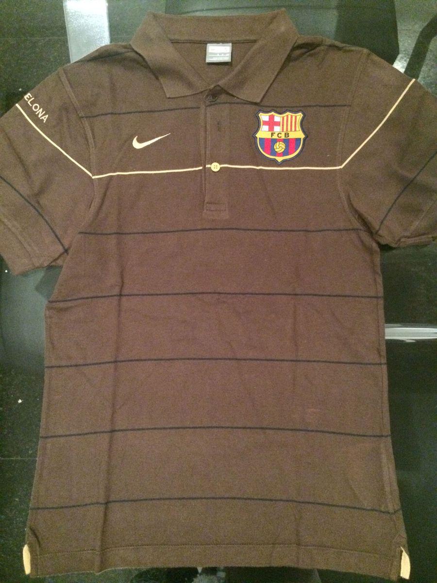 camisa polo nike barcelona marrom - camisetas nike 6e2d1a75ae4ec
