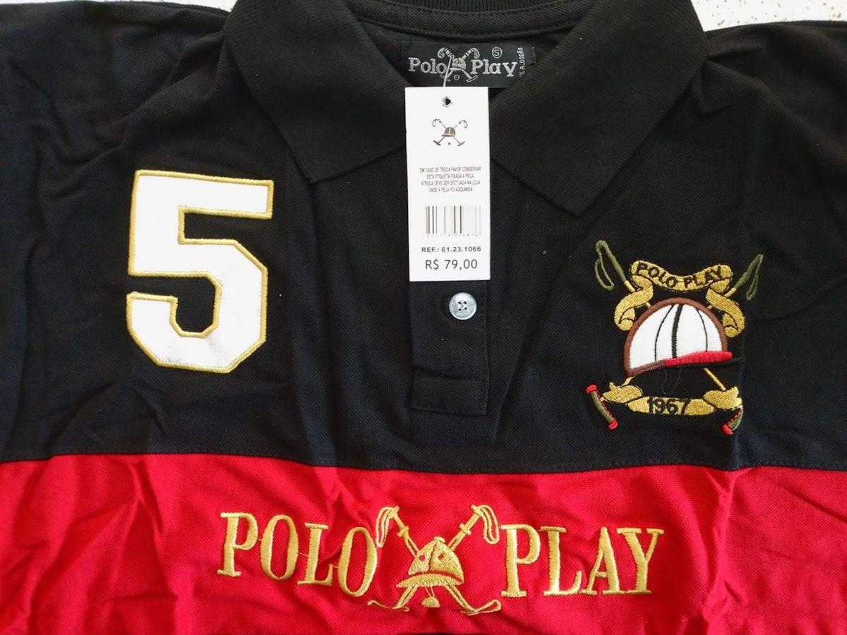 33b0b52d86a44 camisa polo play preta e vermelha tamanho p - camisas polo play