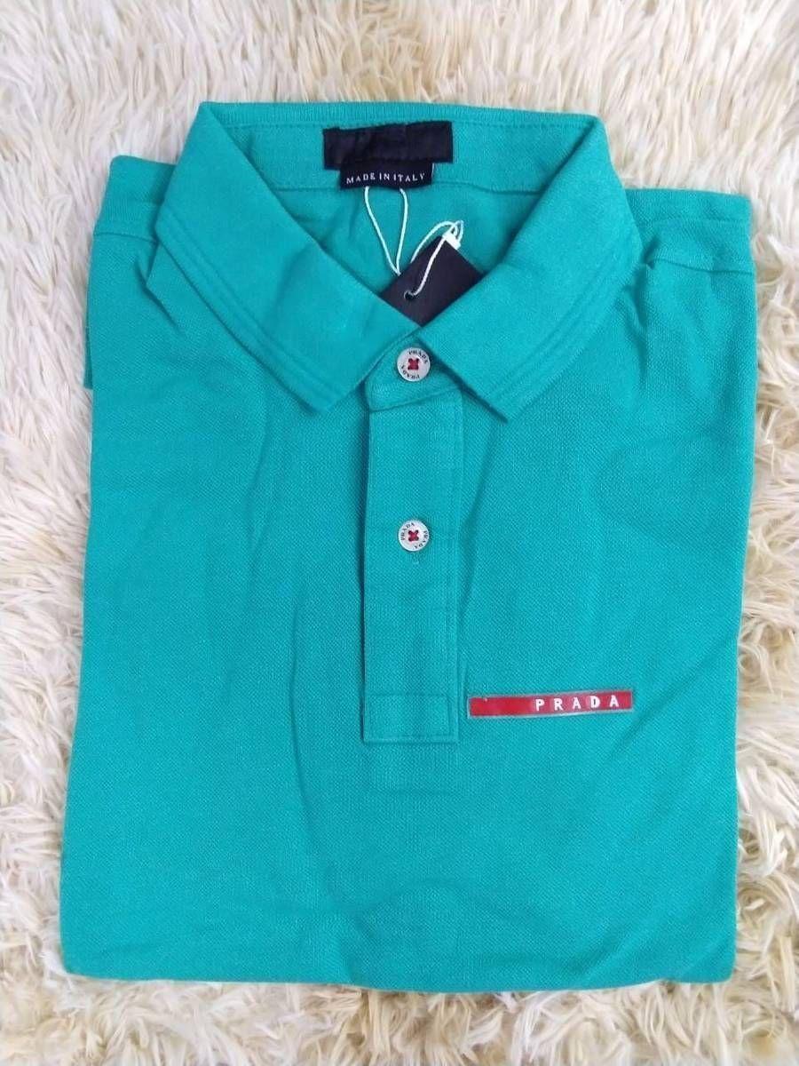 f4f556c11 Camisa Polo Prada Azul Claro Tam.p,m,g,gg | Camisa Masculina Prada ...