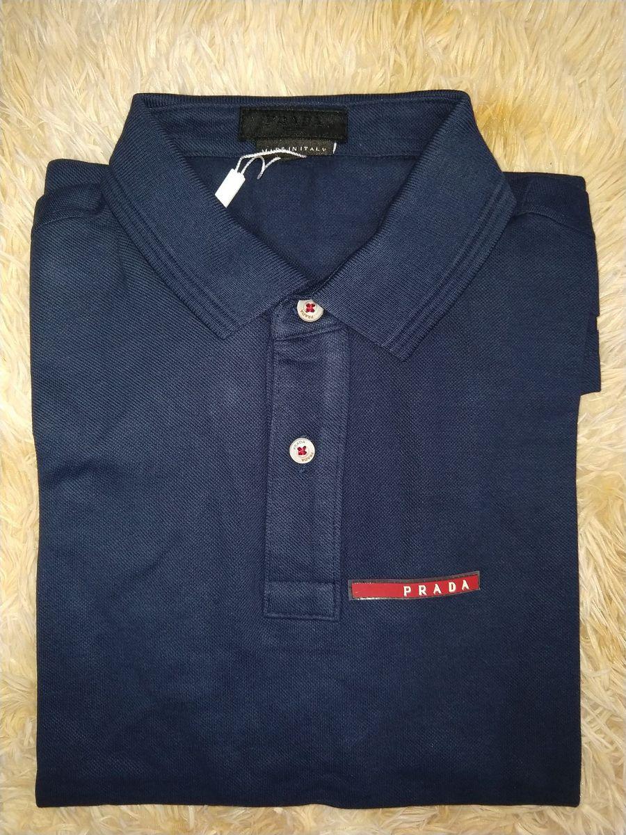 1f3ca882b Camisa Polo Prada Azul Marinho Tam.p,m,g,gg | Camisa Masculina Prada ...