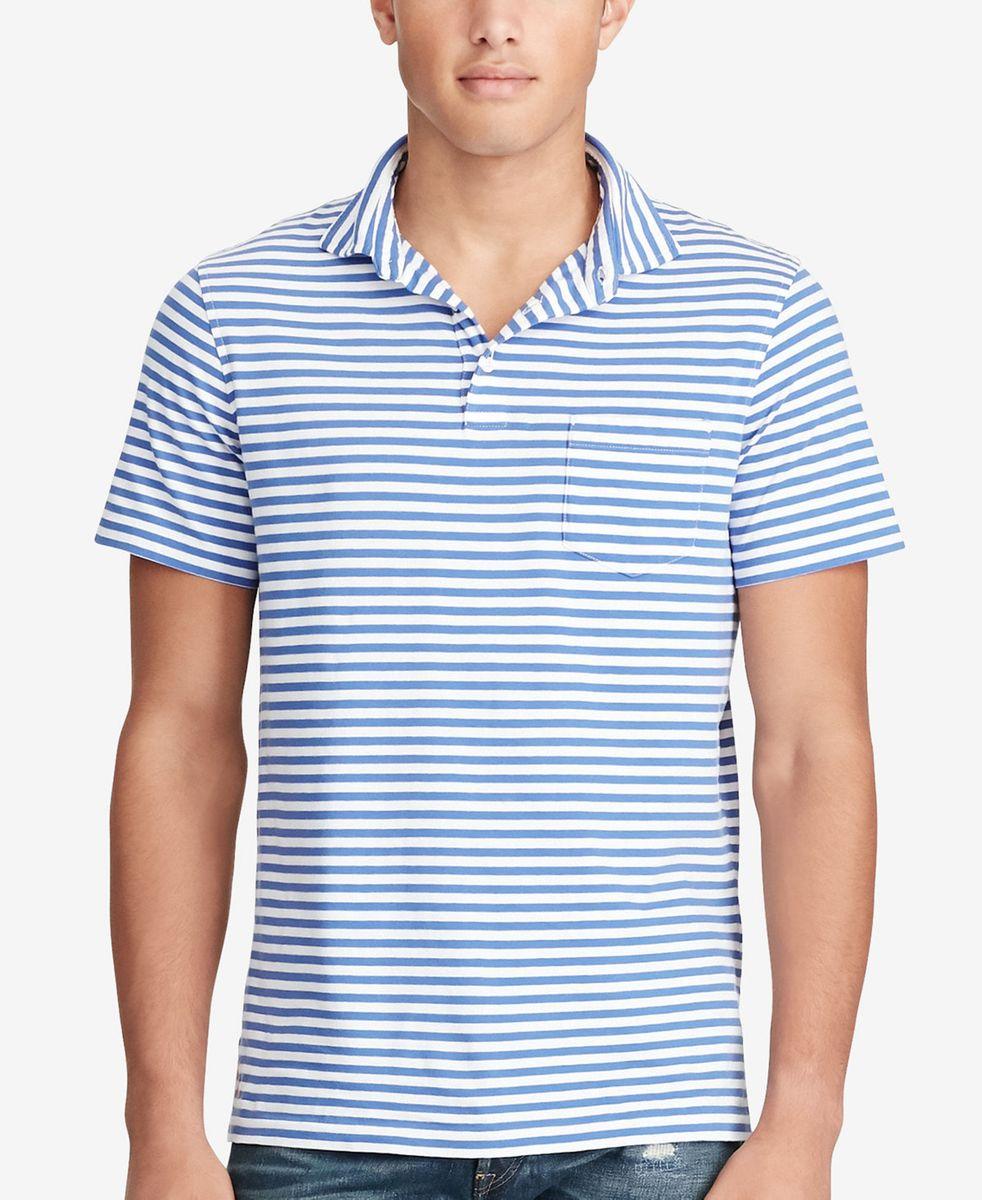 camisa polo ralph lauren listrada em azul e branco - tamanho g - camisas  polo ralph bbf96901813