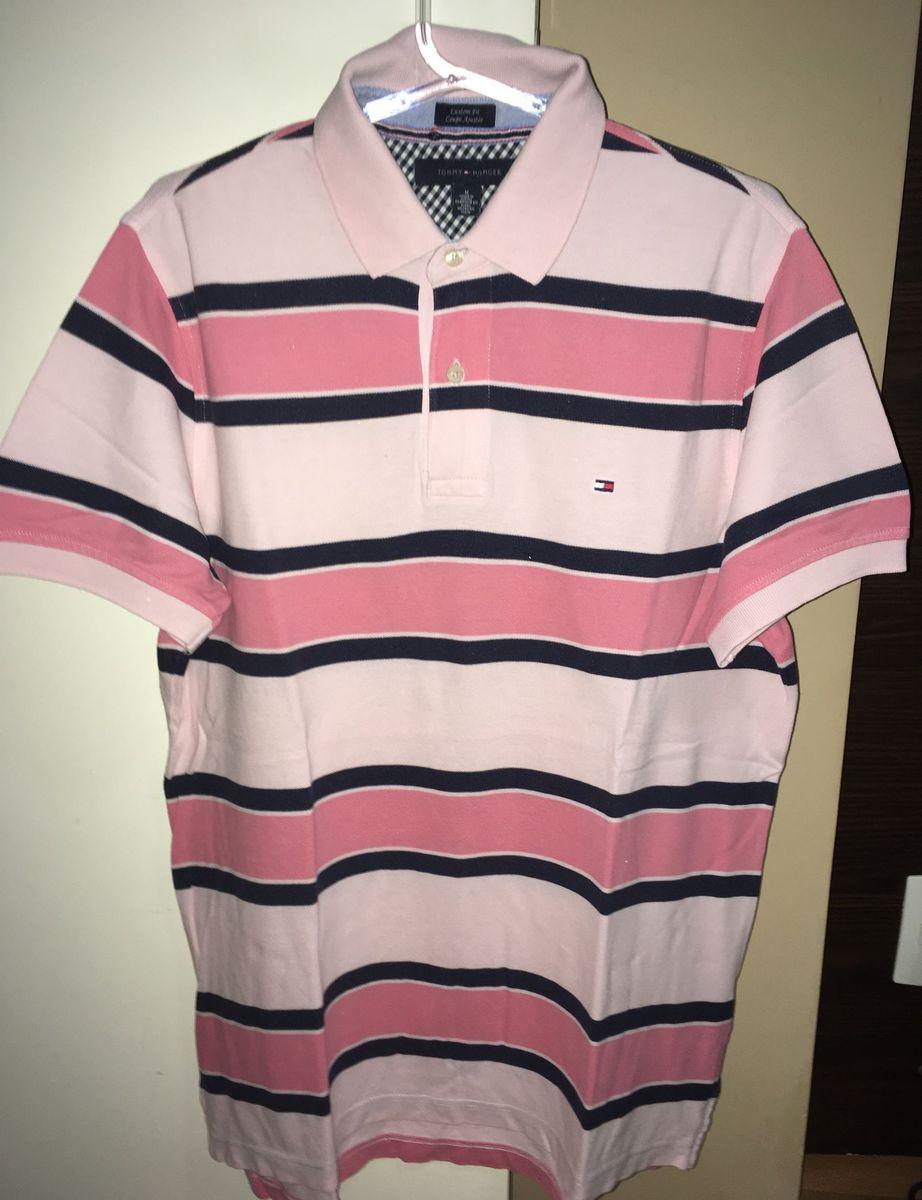 aac5a5fefb camisa polo tommy hilfiger rosa listrada tam m - camisas tommy hilfiger