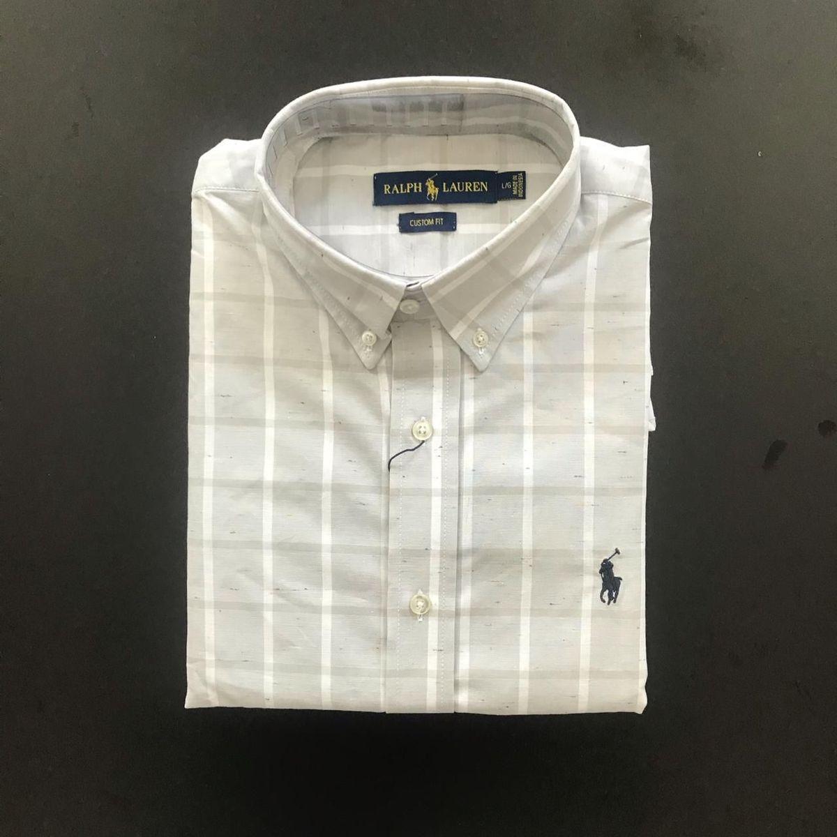 camisa ralph lauren creme manga curta - camisas polo ralph lauren e92ed783d48
