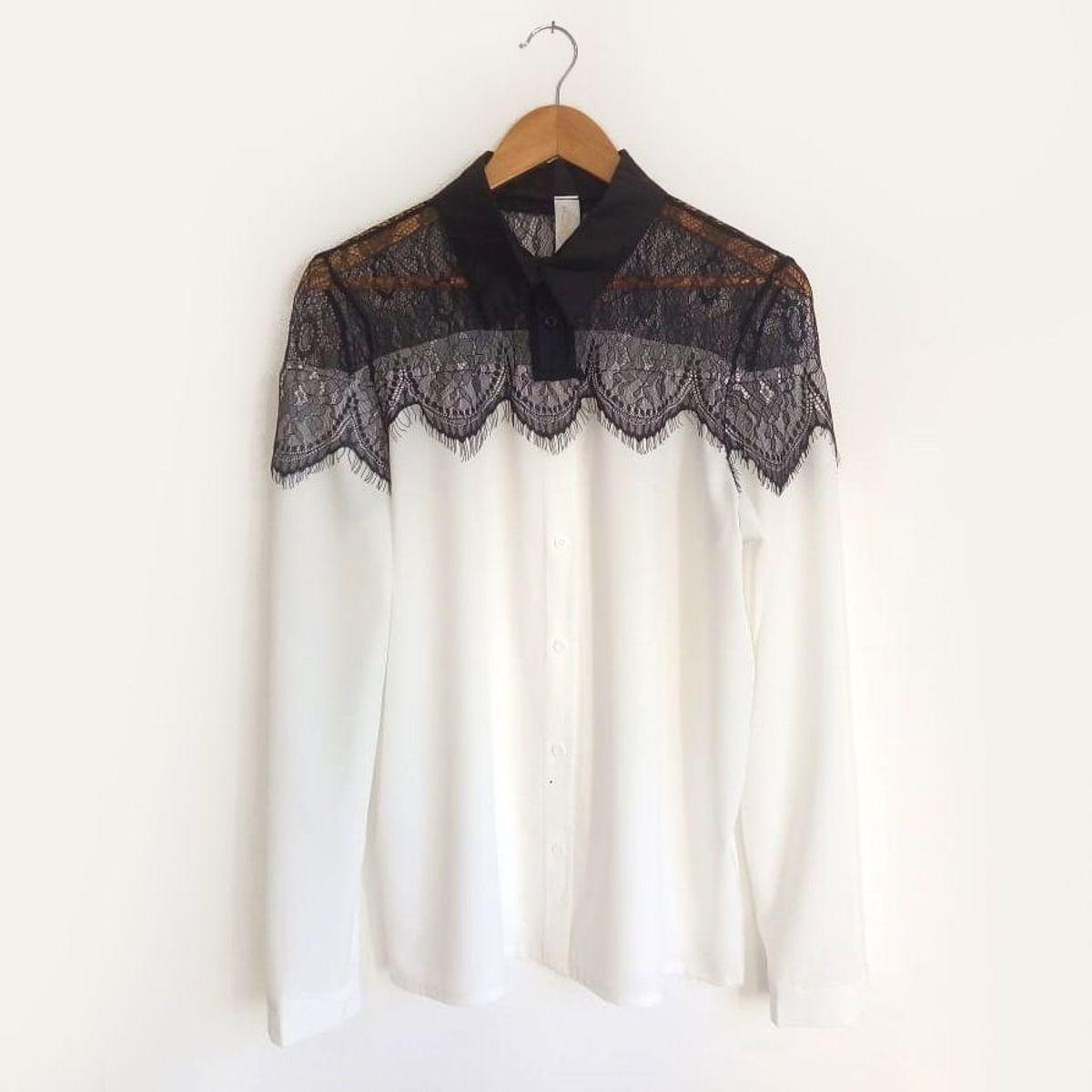 camisa rendada - camisas liza jane