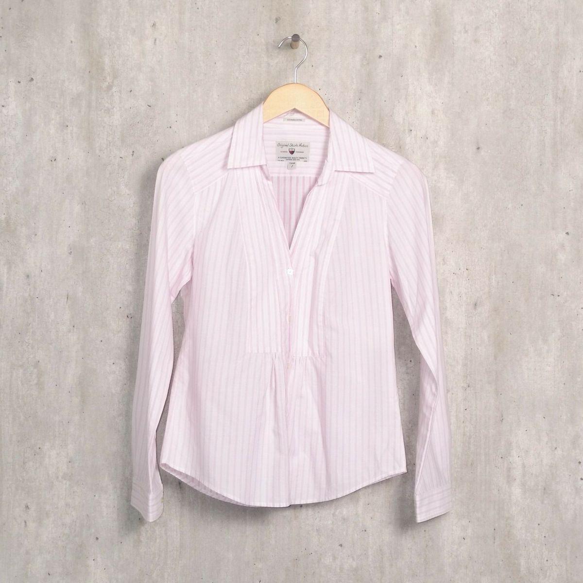 7209093bf615c Camisa Rosa Claro Riscada