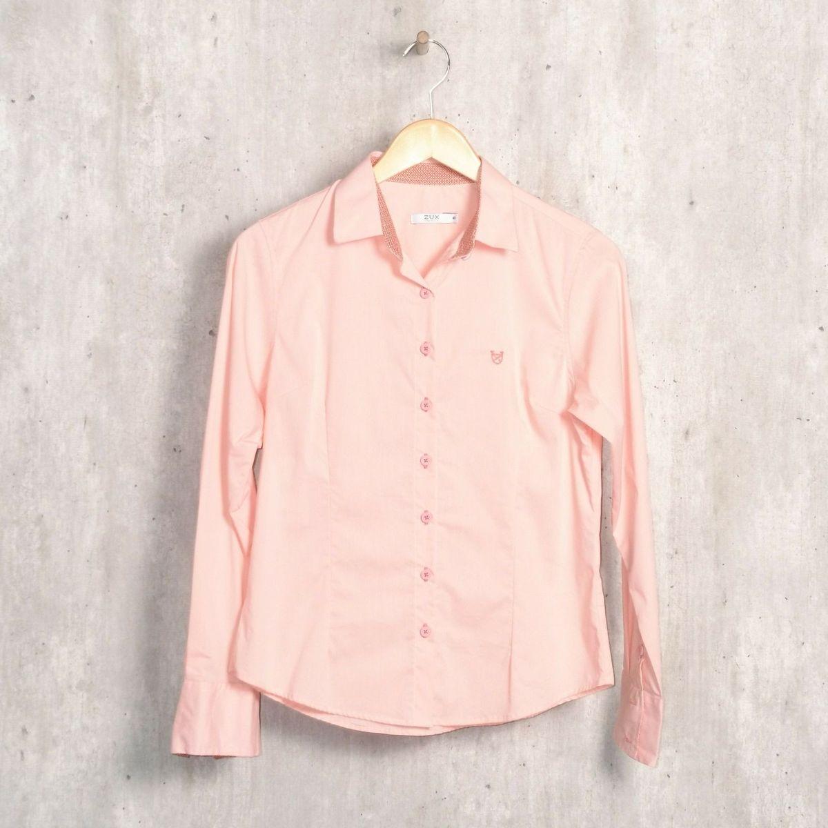 6fec81b28a33c Camisa Rosa Claro Tricoline