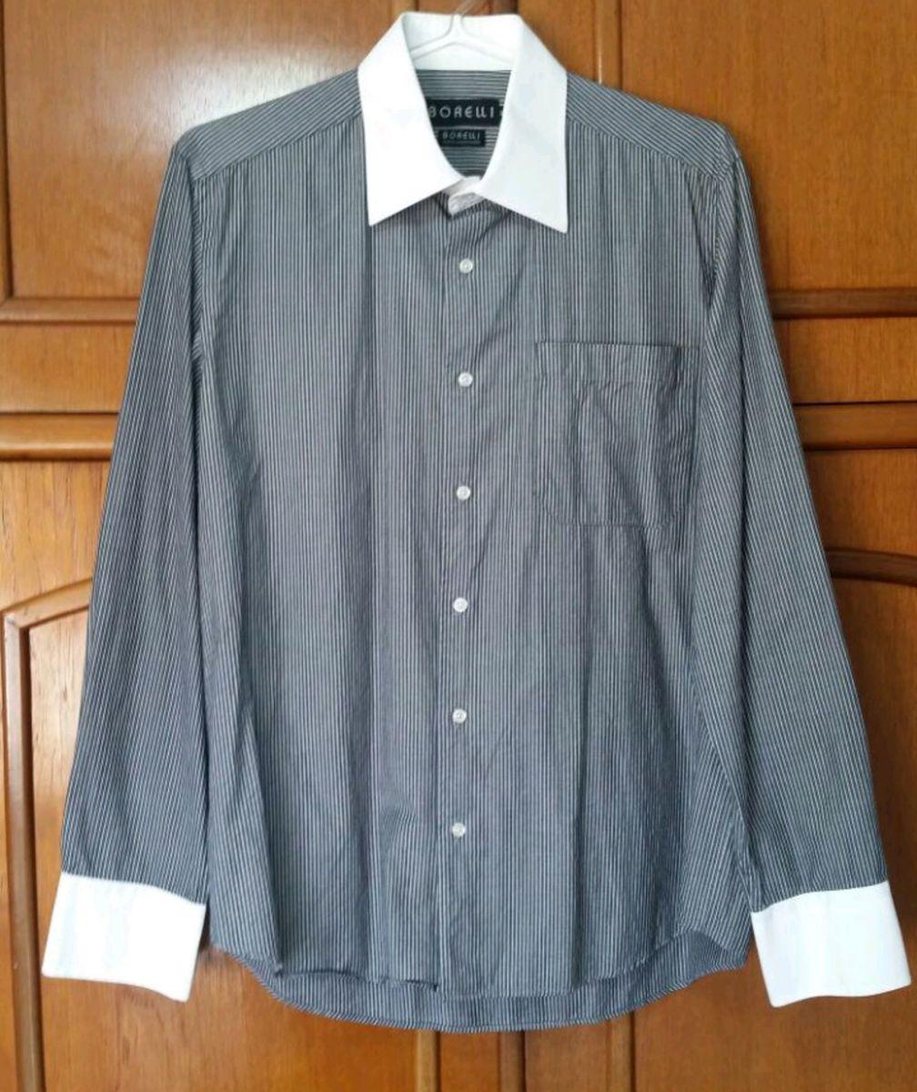 f05781fb6a0 camisa social borelli listrada colarinho branco - camisas borelli