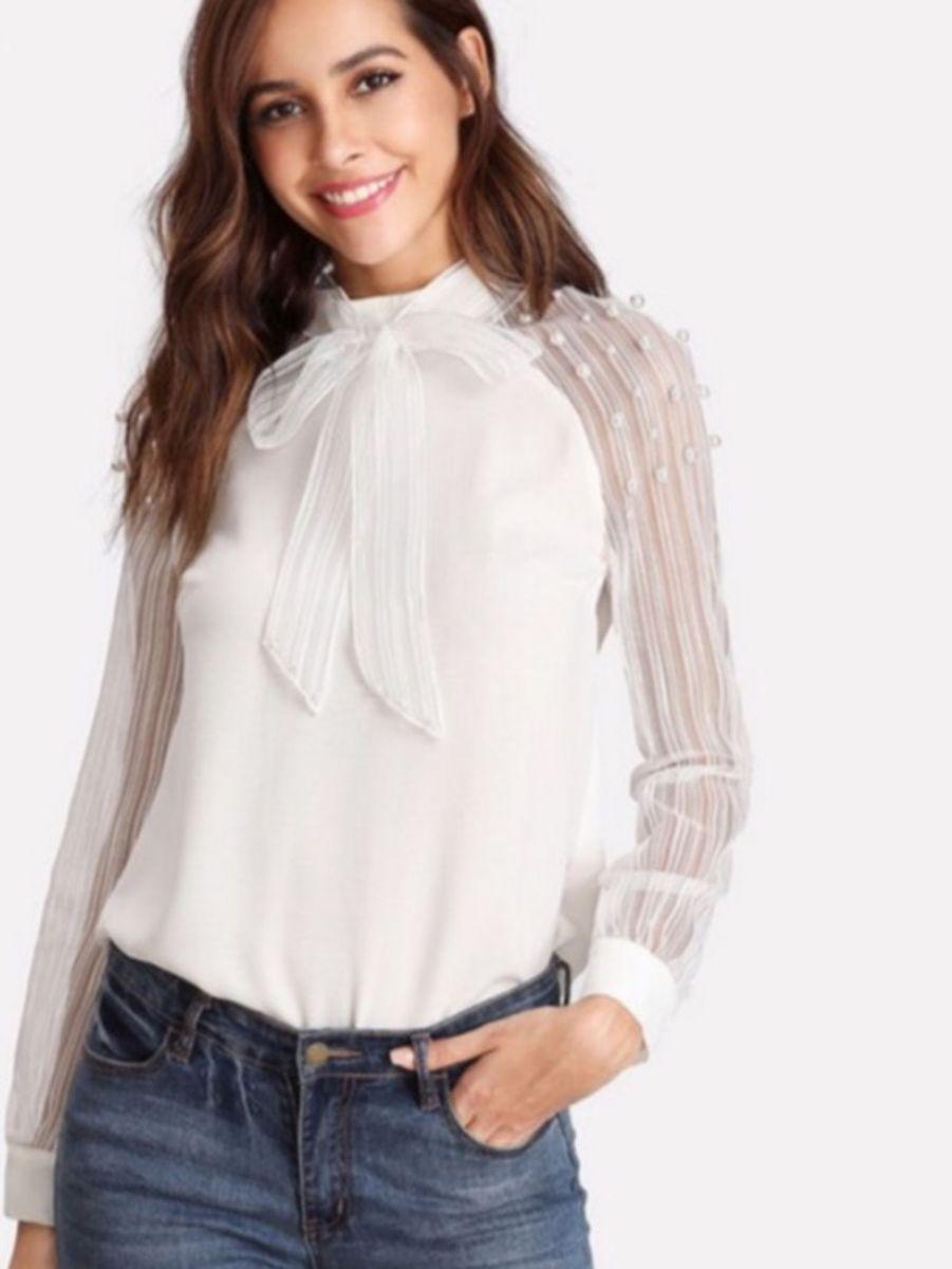 e0948febf Camisa Social Branca Laço Perolas Chique Linda | Camisa Feminina ...