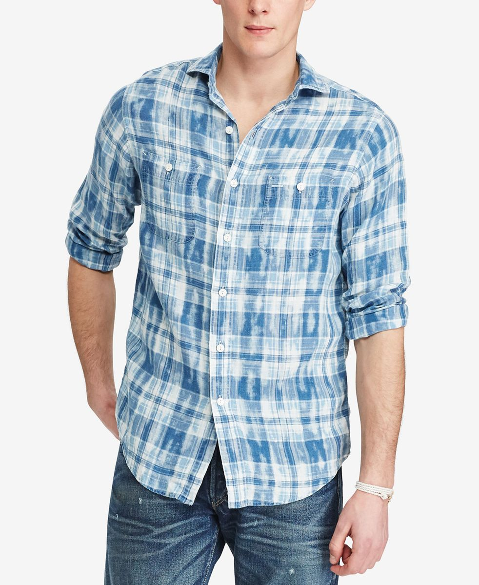 camisa social casual polo ralph lauren quadriculada em linho - tamanho g -  camisas polo ralph 5dd6a7779cc