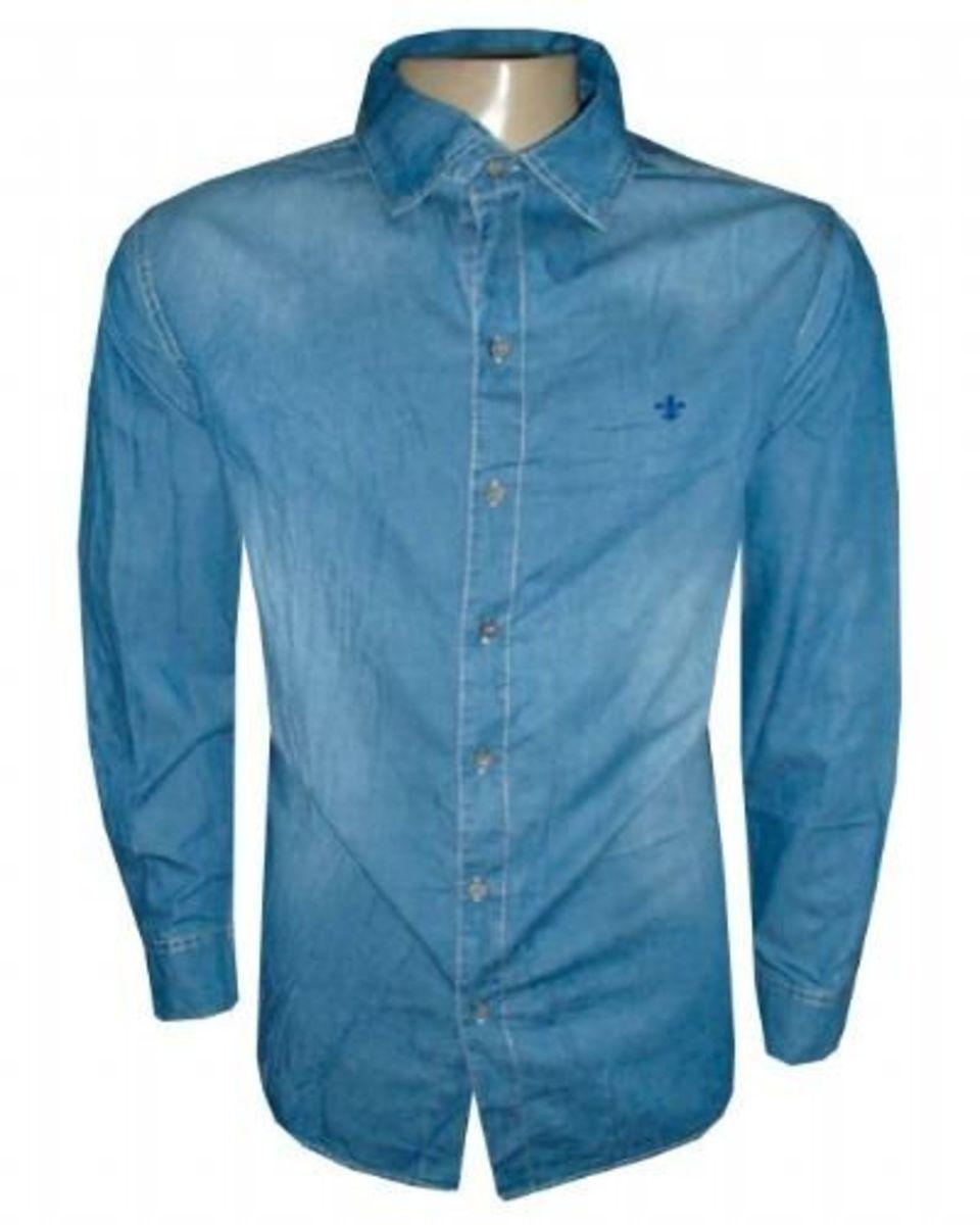 82ffeb6f687e5 camisa social dudalina jeans azul aço original - camisas dudalina