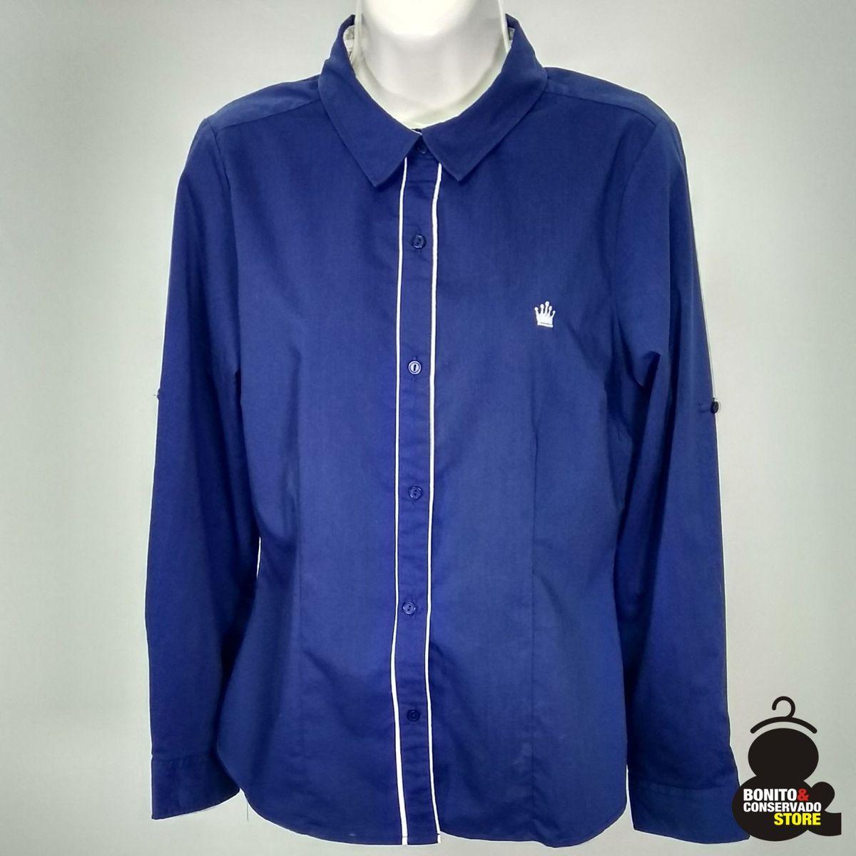 Camisa Social Feminina Azul Marinho  86715c9ee90e7