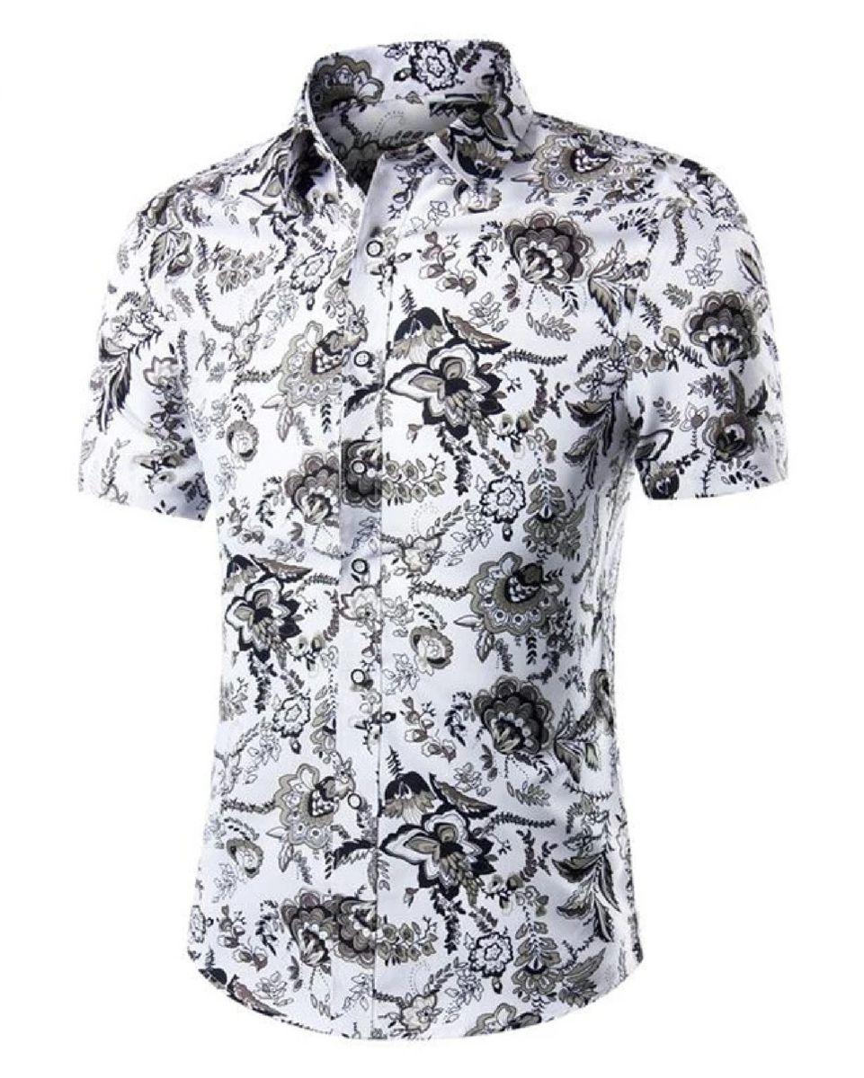 3b762a6822 camisa social floral estampada slim fit masculina - camisas ziip imports