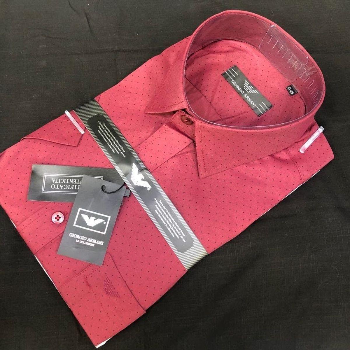 ce2a028a10 Camisa Social Giorgio Armani Manga Curta Vermelho Tam.p