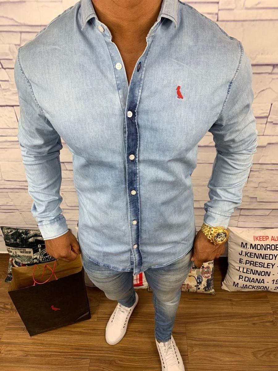 8863ac696fe767 Camisa Social Jeans Masculina Reserva Azul | Camisa Masculina ...