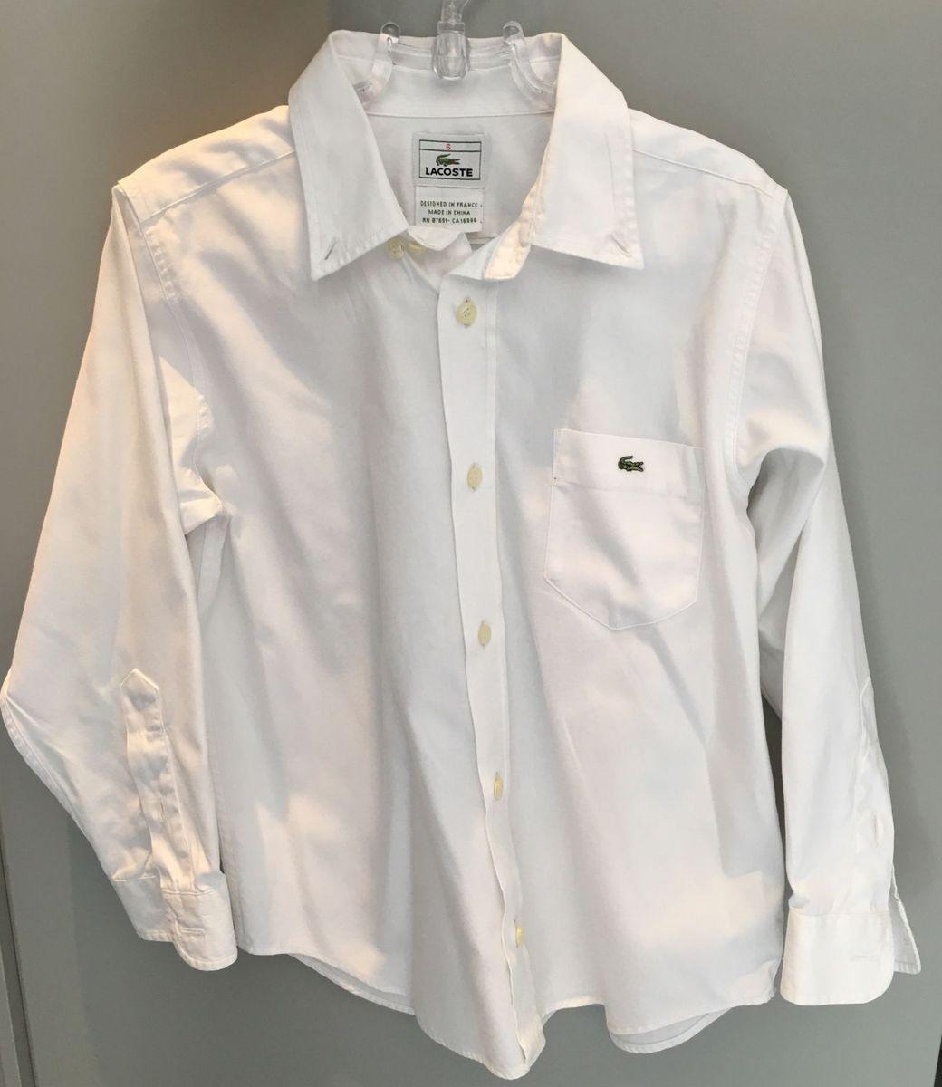 33957302e45bc camisa social lacoste original tam 6 anos - menino lacoste