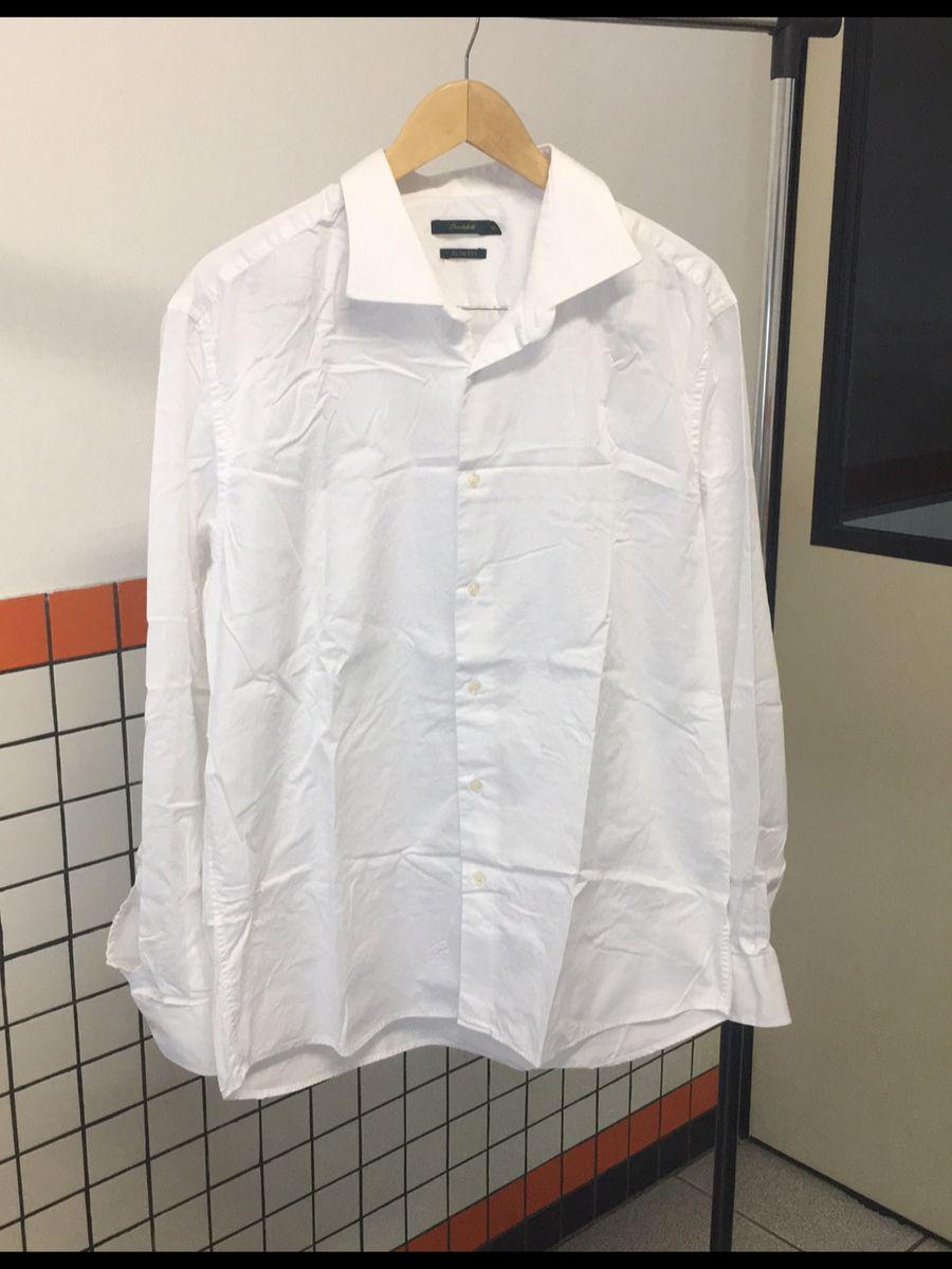 65fe041dfec camisa social masculina slim fit branca original brooksfield 46 perfeita -  cgrbj - camisas brooksfield