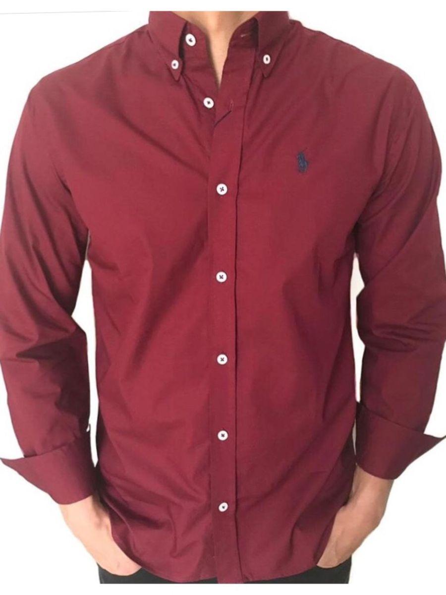 camisa social polo ralph lauren cor vinho - camisas polo ralph lauren 9965743d284e9