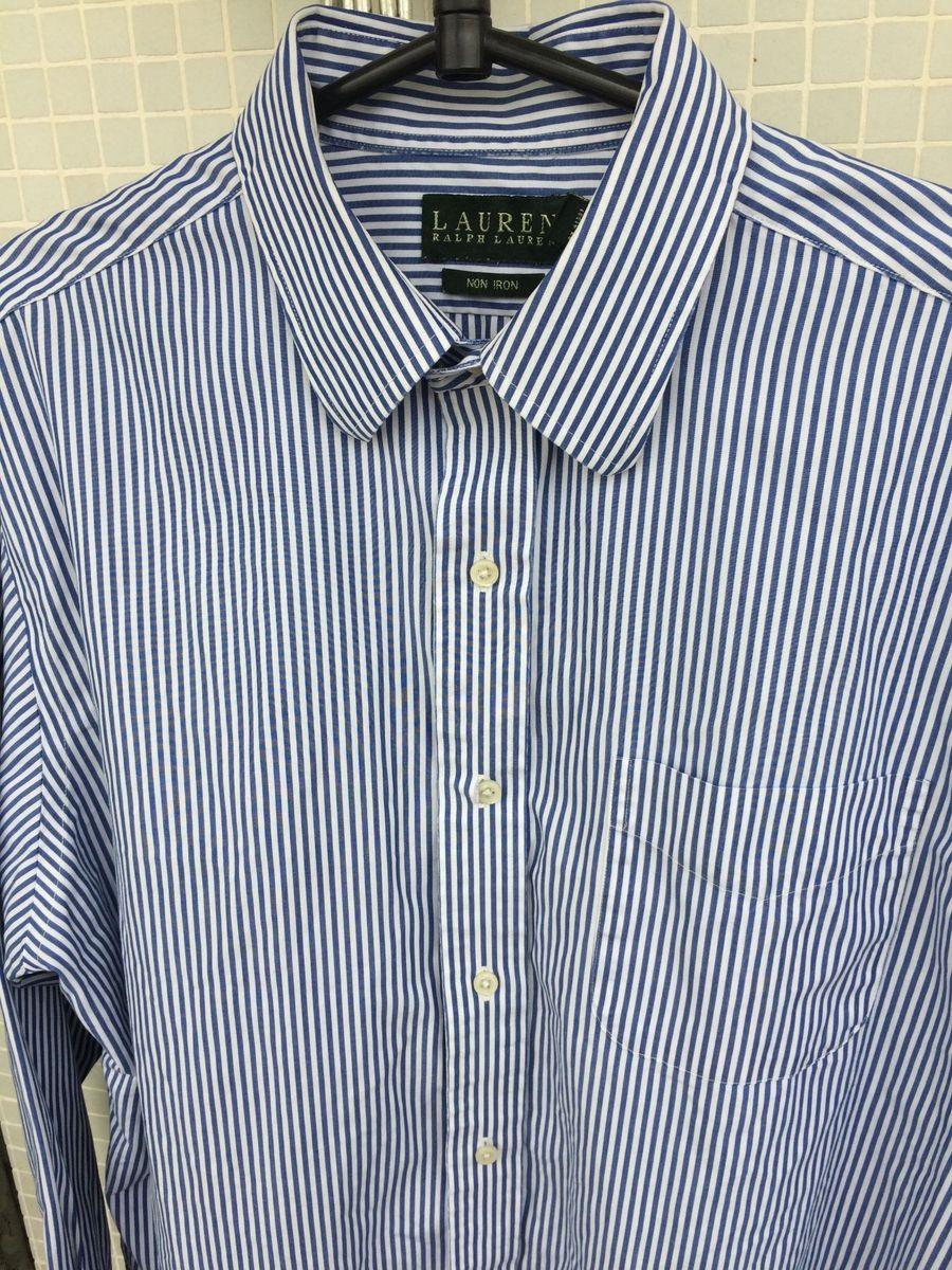 camisa social ralph lauren azul e branca listrada - camisas ralph lauren ed9c8b85e58