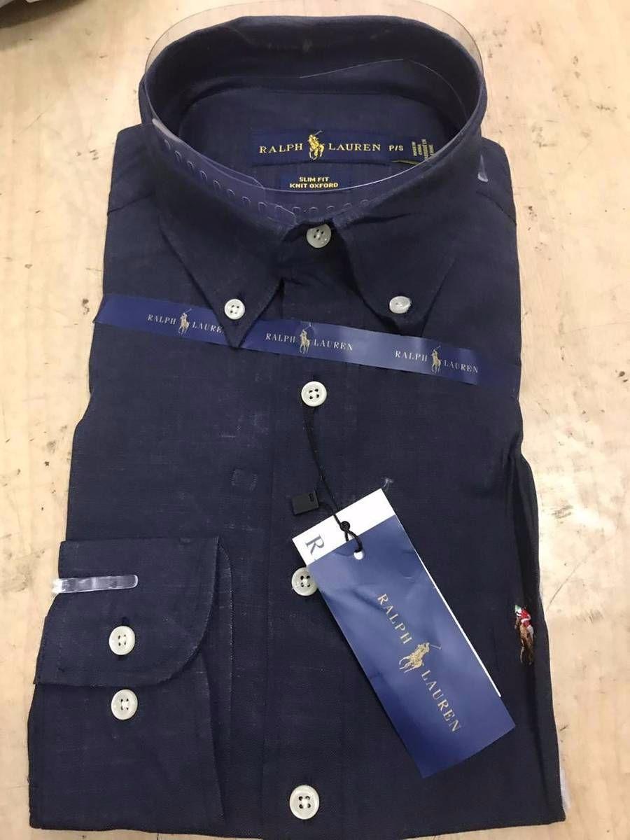2e7cf1d5b8 Camisa Social Ralph Lauren Azul Marinho Tam P