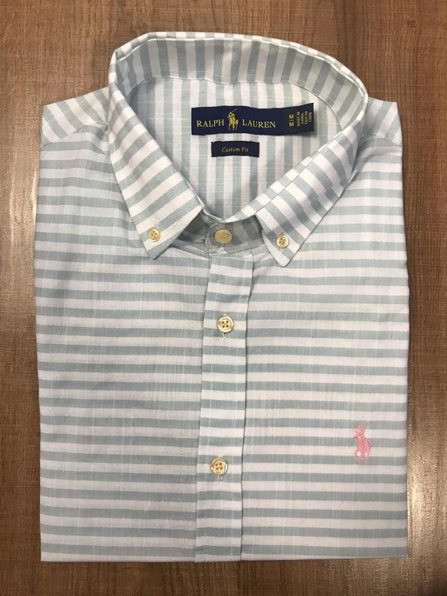 camisa social ralph lauren branca e cinza listrada - camisas polo ralph  lauren a3e06ec51ca