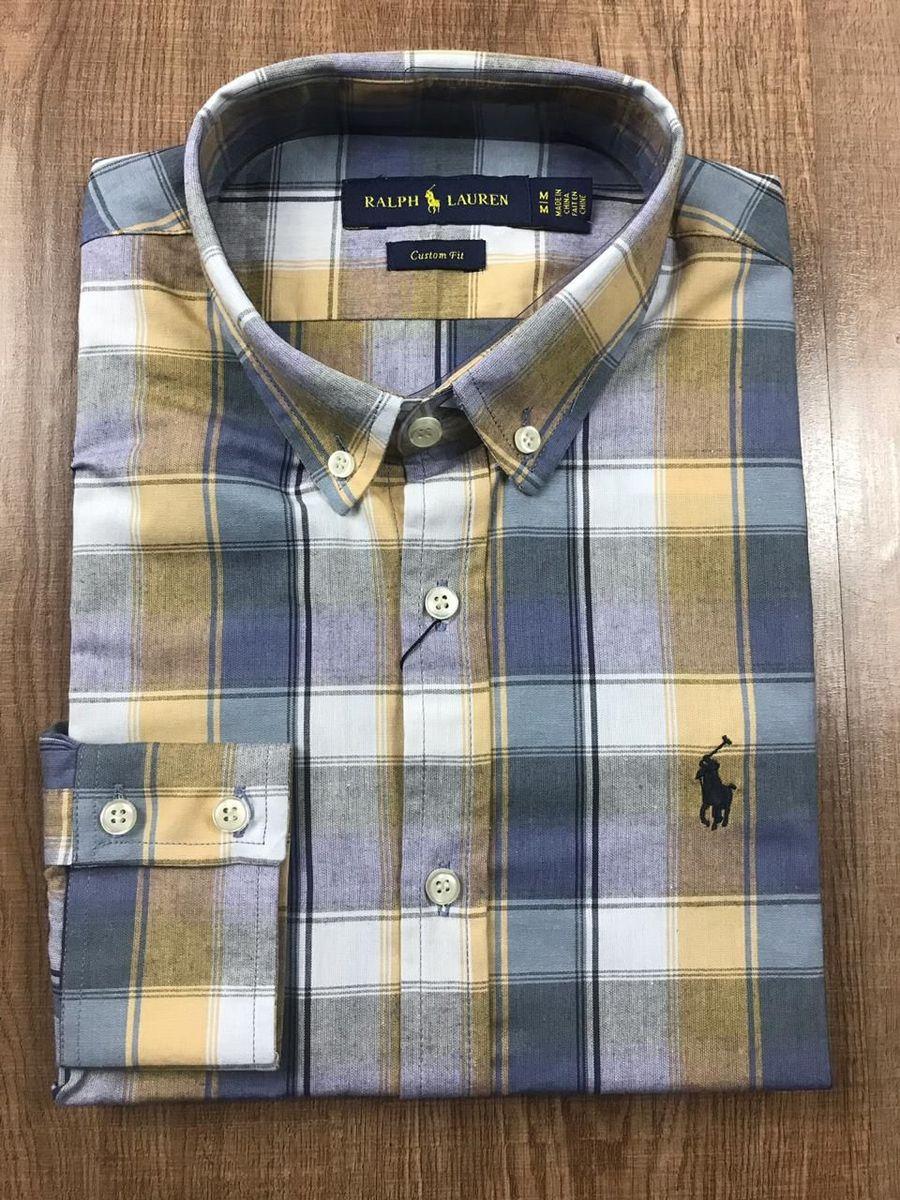 camisa social ralph lauren xadrez azul clara e amarela - camisas polo ralph  lauren b7c76b95d8d