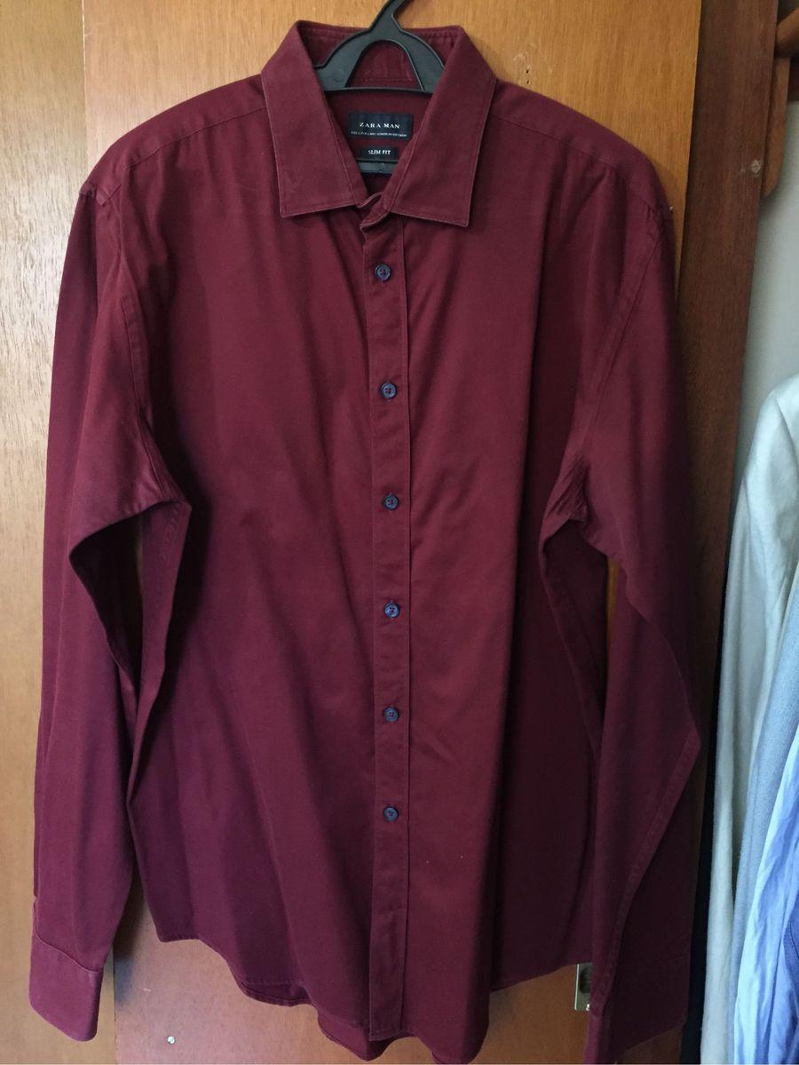 c4f76f03e2 Camisa Social Zara - M/g - Cor Vinho / Marsala | Camisa Masculina ...