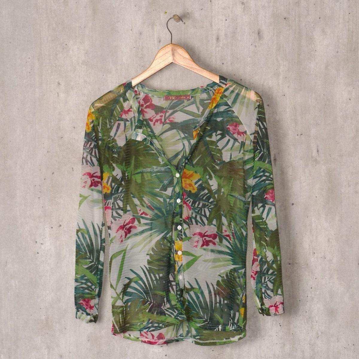 camisa tule natureza transparência - camisas yessica