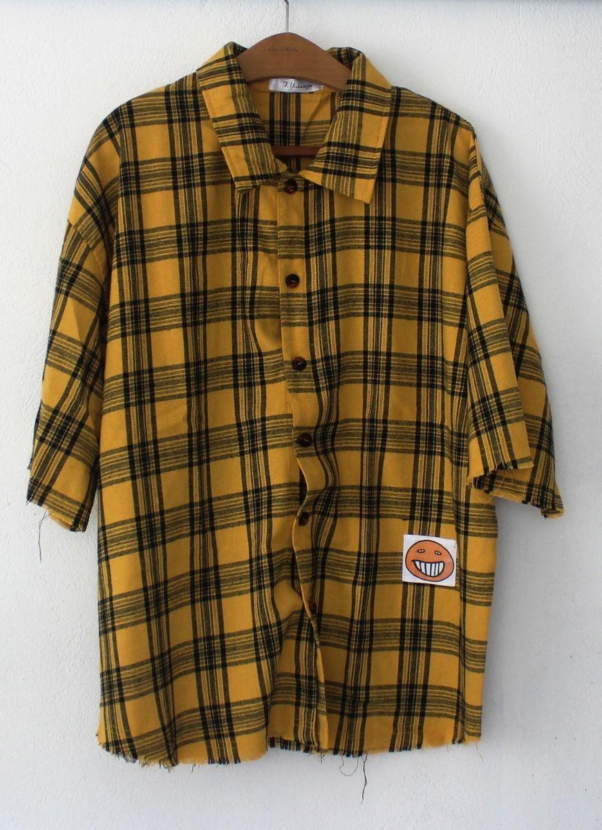 camisa xadrez amarela rasgada - camisas sem marca 87f4f5f041a