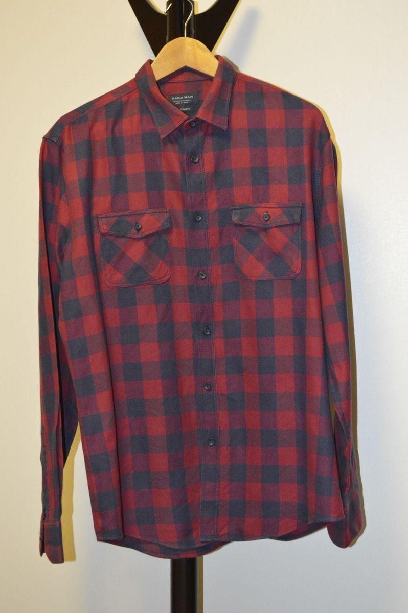 camisa xadrez buffalo check vermelha e azul zara - camisas zara 05007073e7a
