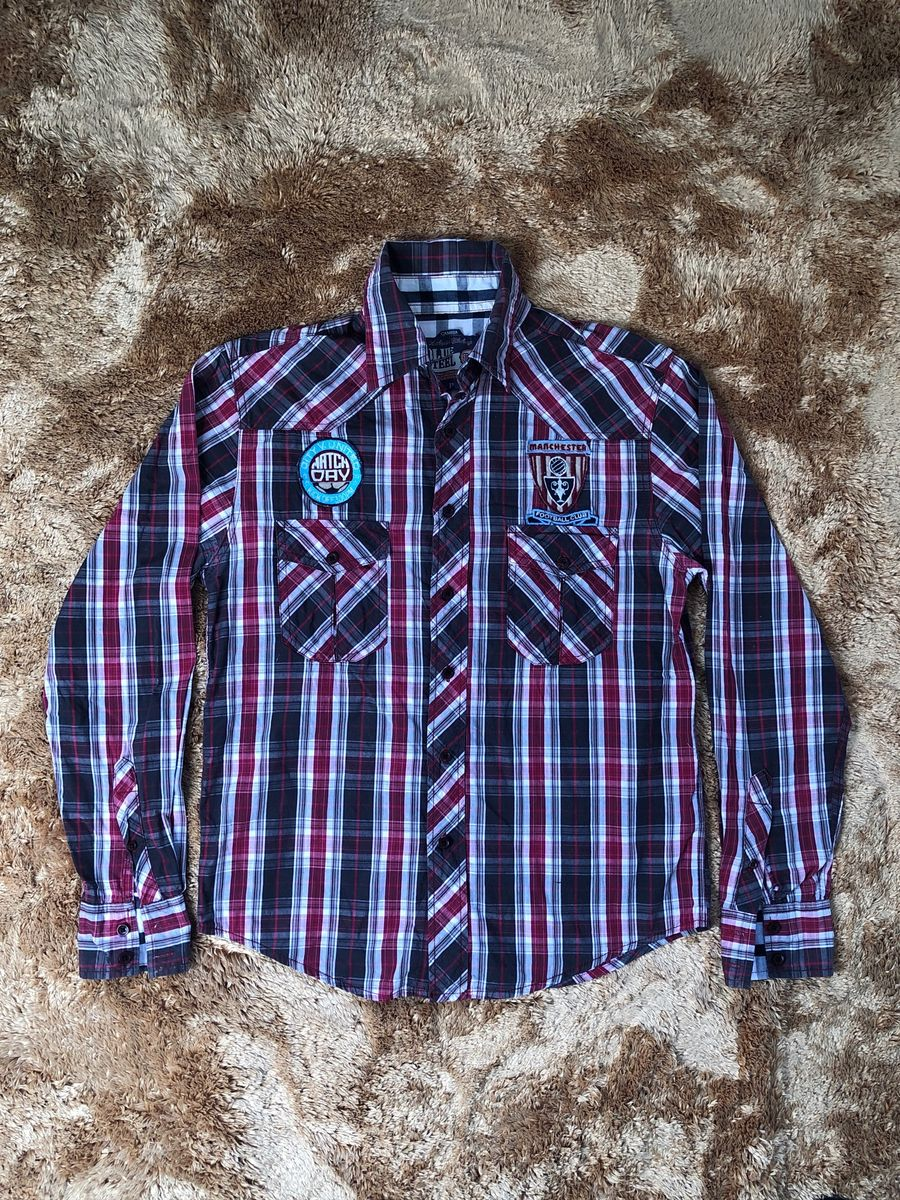 camisa xadrez com patch - camisas blue steel