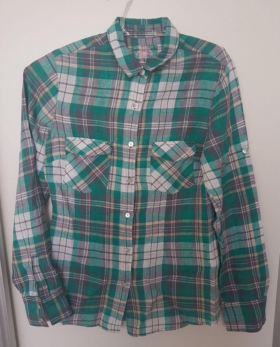 camisa xadrez feminina linho ad life style - camisas ad-life-style 711ead94752b3