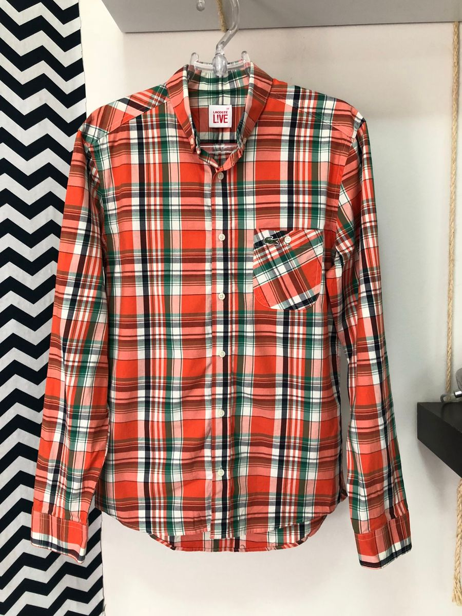 camisa xadrez laranjão lacoste live - camisas lacoste live