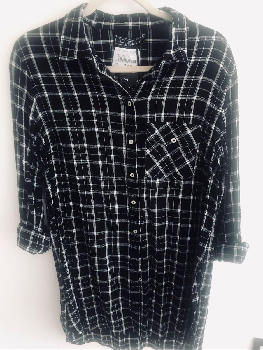 camisa xadrez longa com fendas - camisas c&a