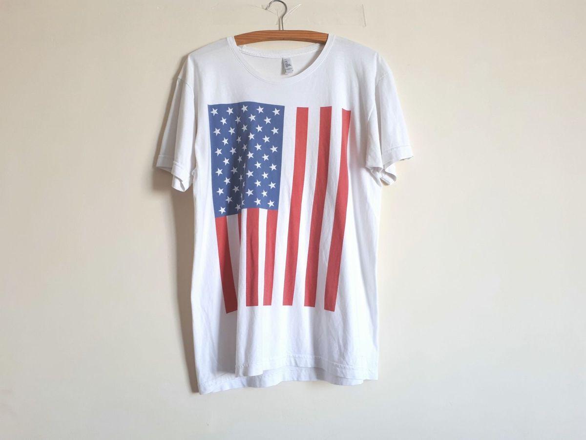 camiseta american apparel bandeira dos eua - camisetas american-apparel