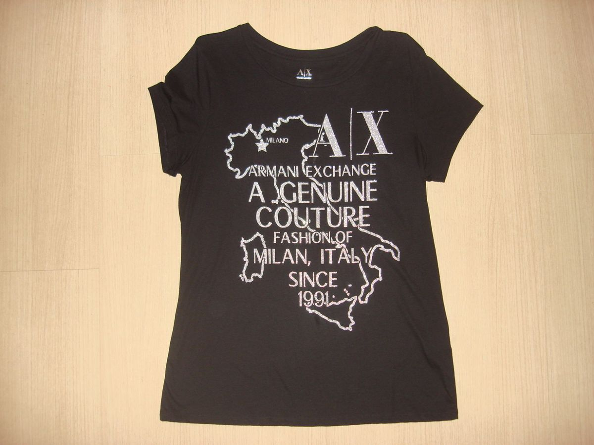 2b1805bfd25 camiseta armani exchange a x preta e prata g original - camisetas armani  exchange a