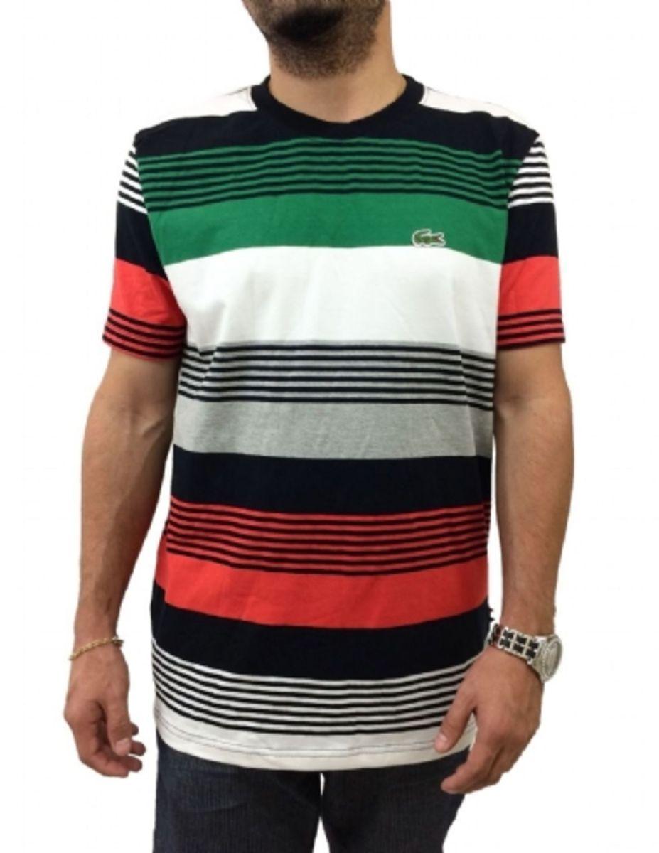 camiseta m lacoste masculina em malha de algodão listrada com gola redonda  - camisetas lacoste 70606fca00