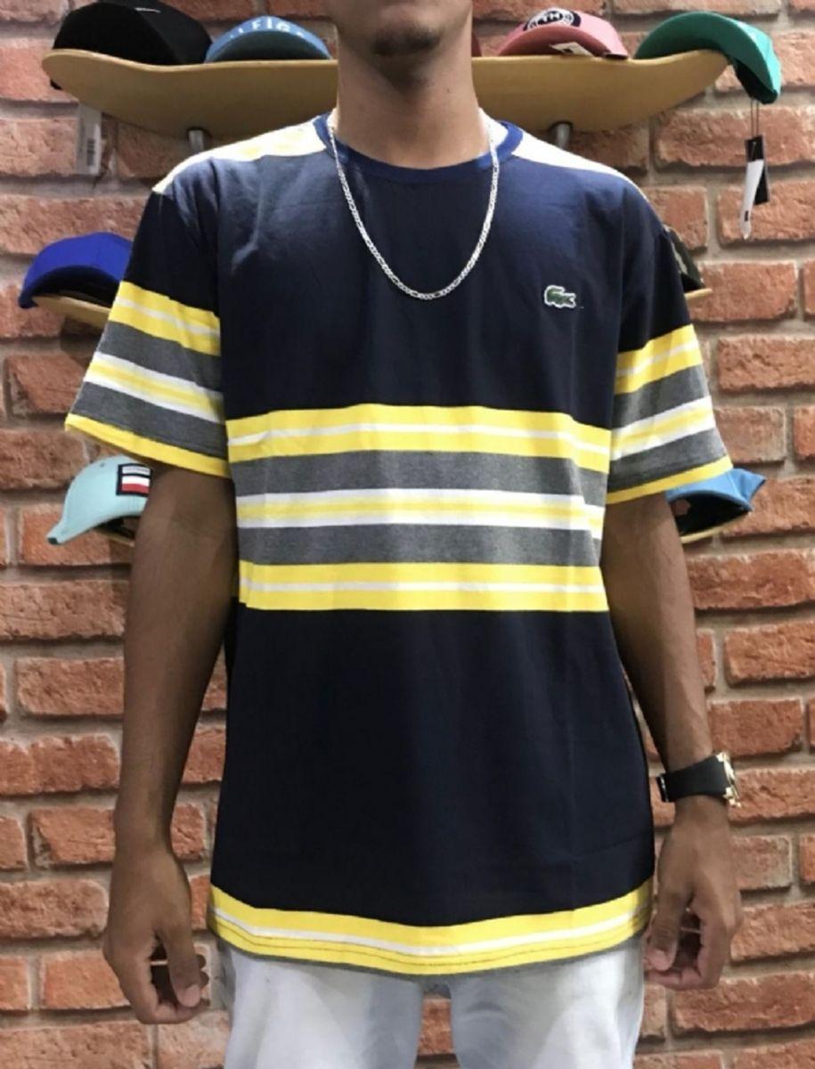 Camiseta Gg Com Gola Redonda Listrada Lacoste Cod Do Produto