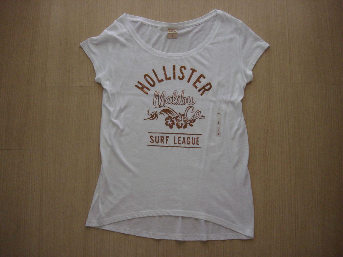 0ece150968 camiseta hollister feminina branca e dourado g original - camisetas  hollister