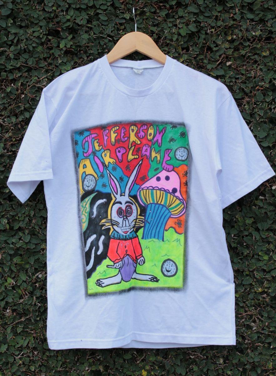 camiseta jefferson airplane pintada a mão - camisetas sem marca ae8581e7c57