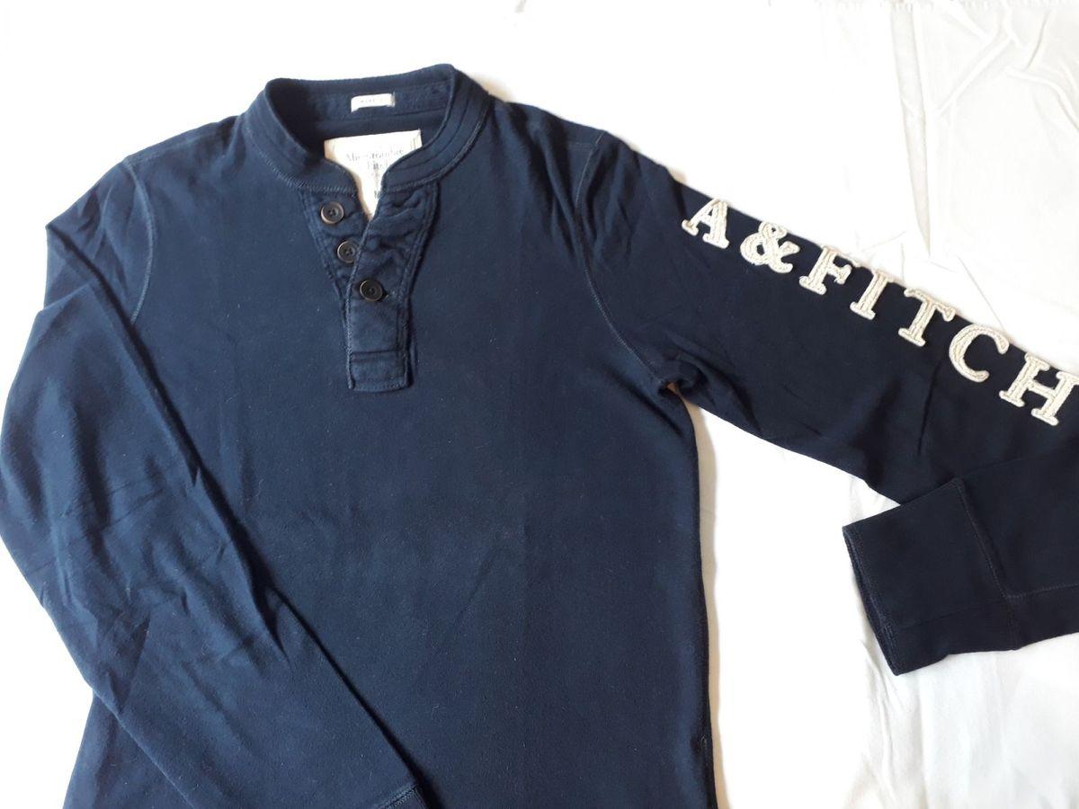 3c2d19671c camiseta manga comprida azul marinho a amp f tamanho m original - camisetas  abercrombie ...