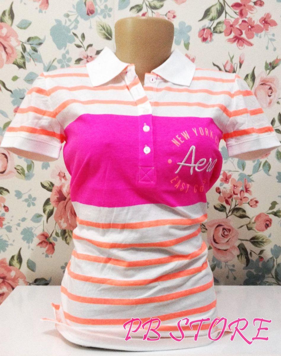 camiseta polo feminina listrada aeropostale m pronta entrega original -  camisetas aeropostale 92192fdd41706