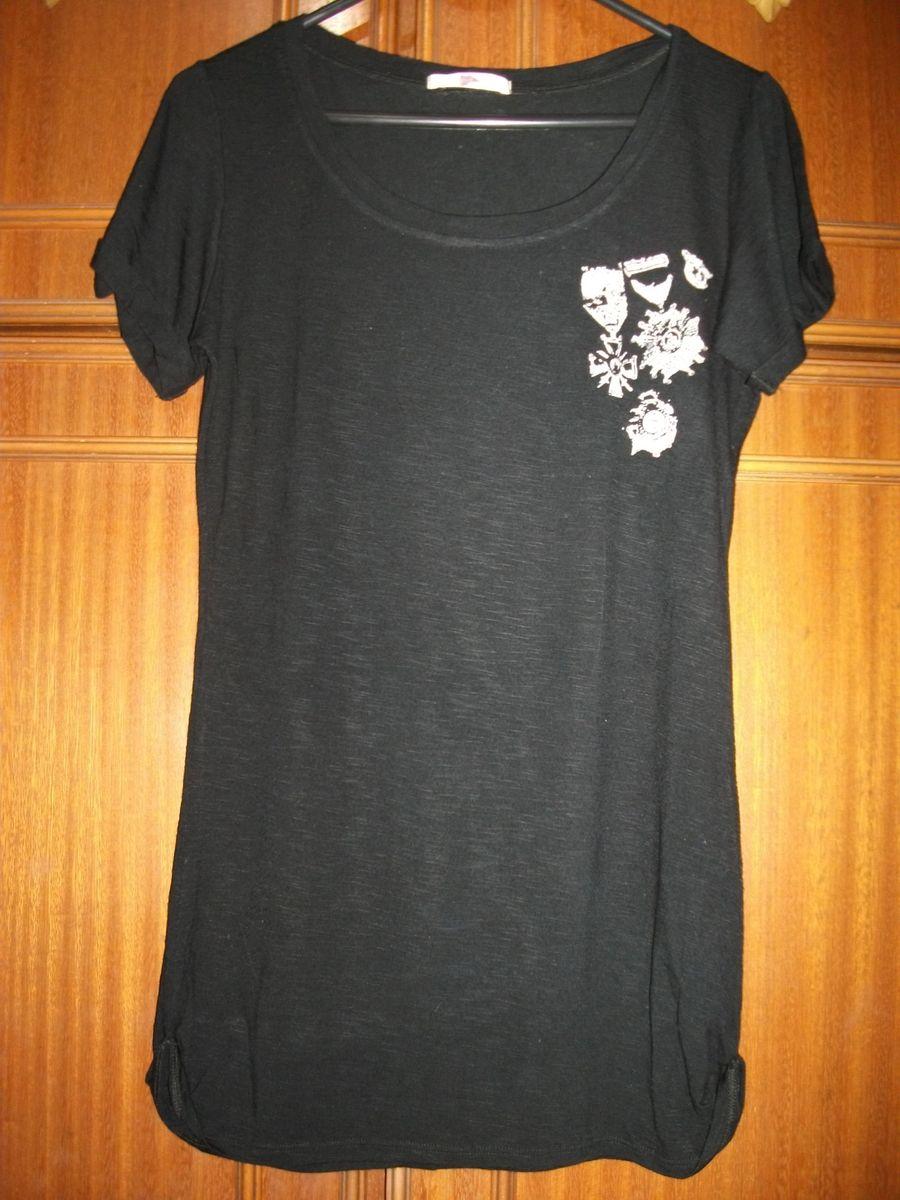 camiseta pool riachuelo feminina cor preta longa manga curta estampa  medalhas tamanho m - camisetas pool 6e10da5fb04